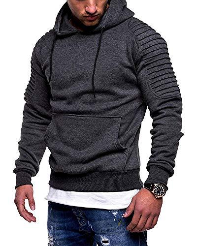 Hombre Pullover Sudadera con Capucha y Cremallera de Manga Larga Sweater Camo Chaqueta Deportiva Hoodie Casual Jerséis Tops Chaqueta con Capucha al Aire Libre Gris Oscuro XL