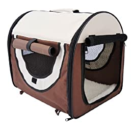 Pawhut Folding Fabric Soft Pet Crate Dog Cat Travel Carrier Cage Kennel House Brown 46L x 36W x 41H cm