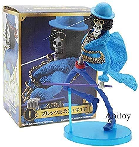 Yooped Anime One Piece Anniversary Brook Brook Sombrero de Paja Equipo Azul Ropa PVC Figura de acción Modelo Juguetes 17 5cm