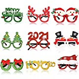 MEMOVAN Christmas Party Favors Christmas Glasses Frame Costume Eyeglasses Xmas Decorations Christmas Photo Booth Props for Christmas New Year Party Supplies Christmas Prizes for Adults Kids 9pcs