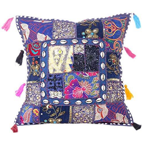 EYES OF INDIA - 16 'decorativa sofá cama funda de cojín almohada azul remiendo de Boho chic bohemio colorido acento indio hecho a mano SOLO LA CUBIERTA