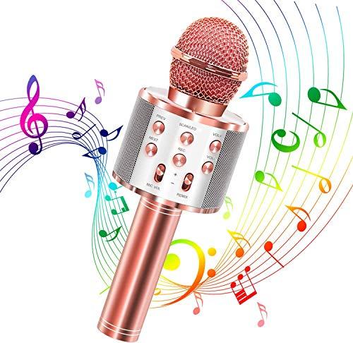 Karaoke Mikrofon, Bluetooth Karaoke Mikrofon Tragbares drahtloses Mikrofon 4.1 Lautsprecher mit Aufnahme für Erwachsene und Kinder, Kompatibel mit Android IOS PC (Roségold)