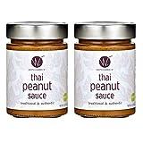 WATCHAREE'S Thai Peanut Sauce | Vegan | Authentic Traditional Thai Recipe | 12.8oz Jar (Thai Peanut, 2 pack)