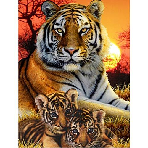 Meecaa - Kit per pittura a mosaico con strass, motivo: tigre e animale, fai da te, 5D, punto croce, punto croce, mosaico, 30 x 40 cm (tigre)