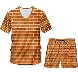 Camiseta de ladrillo Rojo + Pantalones Cortos, Conjunto de 2 Piezas para Hombre, Sudaderas de Talla Grande con Empalme de ladrillo, chándal Vtsh60396 L