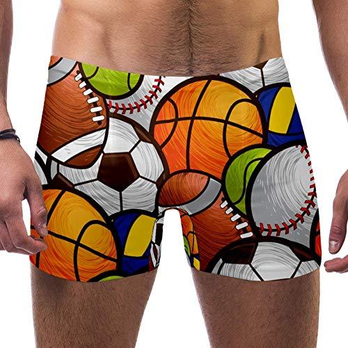 Lorvies Sport-Ball-Muster, Fußball, Volleyball, Basketball, Herren, Schwimmen, Boxershorts, quadratische Beine, Badeanzug, schnell trocknend, Größe S Gr. S 7-9, multi