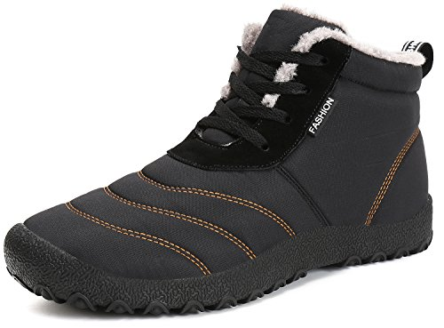 Dreamcity Men's Winter Snow Boots Waterproof Insulated Outdoor Shoes(Black,8)