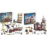 Lego City FireLego60216CityBrigadaDeBomberosdelDistritoCentro, SetDeConstrucción,MotoYHelicóptero + CityParqueDeBomberosSetDeContrucción
