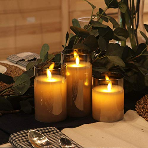 Gray Glass LED Candles with...