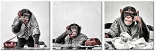 iHAPPYWALL 3 Piece Canvas Print Wall Art Funny Ape Chimpanzee On The Phone at The Desk Modern Pop Animal Canvas Painting Framed for Home Office Decoration
