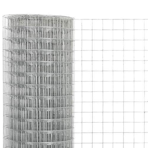 Tidyard Drahtgeflecht Maschendrahtzaun aus Verzinkter Stahl - Hundezaun Katzenzaun Hühnerzaun, Silbern, 0,5 m Höhe, 25 m Rolle, Maschenweite 19 x 19 mm (L x B), Drahtstärke 0,7 mm