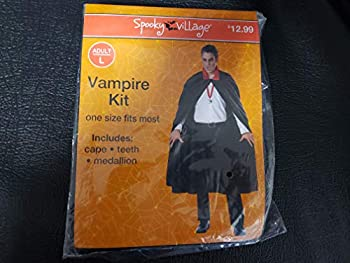 Spooky Village Vampire Costume Kit Adult One Size Fits Most Cape Teeth Medallion
