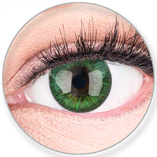 Glamlens SILICONE COMFORT SOFT Grüne Farbige Kontaktlinsen Fresh Mint Grün ohne Stärke -Stark Deckend für Helle Dunkel Braune Schwarze Augen + Behälter - 2 Stück- DIA 14.50-0.00 Dioptrien