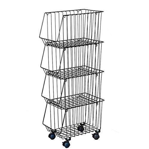 JCNFA 4-dieren rolling metalen kaart, metalen gereedschapsplanken, organizer voor stapelbare manden, speelgoed/kleding/tijdschriften, voor keukenkantoor 15.35 * 10.43 * 37in zwart
