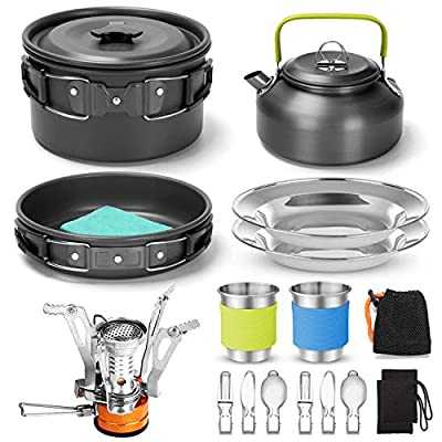 Odoland 16pcs Camping Cookware Mess Kit with Folding Camping Stove, Non-Stick Lightweight Pot Pan Kettle Set with Stainless Steel Cups Plates Forks Knives Spoons for Camping Backpacking Outdoor Picnic