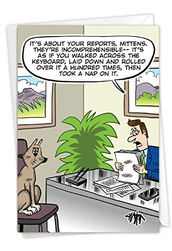 NobleWorks, Catnap Reports - Humorous Happy Birthday Greeting Card - Funny Pet Cat, Animal Cartoon Notecard for Coworker C7269BDG