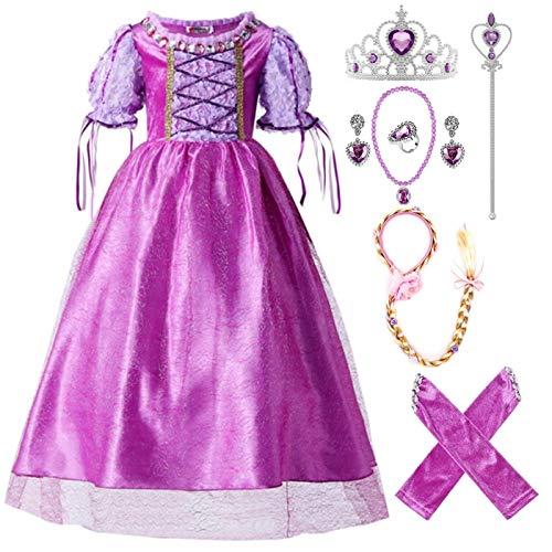 Kosplay Nias Disfraces de Princesa Rapunzel Carnaval para Ninas Halloween Navidad Cumpleaos Cosplay Costume Vestido de Fiesta de Baile de Tul 3-11 Aos