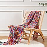 Battilo Mixed Colors Soft Knit Throws for Nap Woven Acrylic Sofa Bed Blanket 63' X 49'