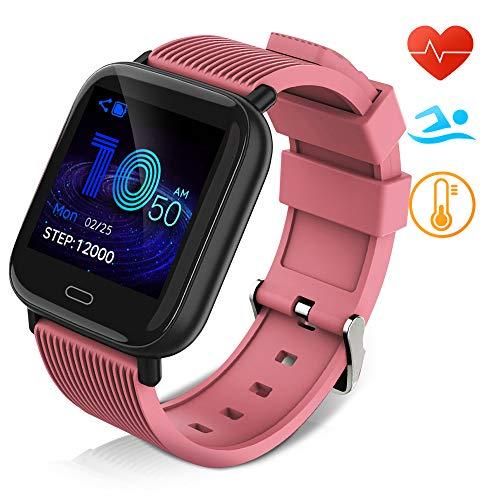 Huyeta Smart Watch mit Pulsmesser Sport Uhr Smart Uhr Wasserdicht Fitness Tracker Aktivitätstracker Pulsuhren mit Kalorienzähler Schlafmonitor,Kamera,SMS für Damen Herren für IOS Android (Rosa)