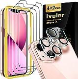 ivoler 4 Unidades Protector de Pantalla Compatible con iPhone 13 6.1 Pulgadas, con 2 Unidades Protector de Lente de Cámara y Marco de Instalación Fácil, Cristal Vidrio Templado Premium