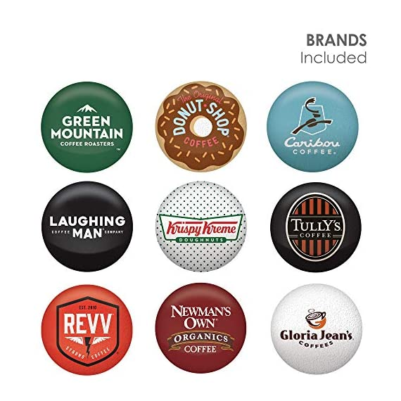 Keurig k-cup pod variety pack, single-serve coffee k-cup pods, amazon exclusive, 72 count 2 includes: 3 k-cup pods from 20 popular varieties, including green mountain coffee breakfast blend, the original donut shop regular, newman's own organic special blend, caribou coffee caribou blend, tully's coffee italian roast, and many more variety: sample different coffees and discover your favorites from a wide variety of roasts, flavors, and brands compatibility: contains authentic keurig k-cup pods, engineered for guaranteed quality and compatibility with all keurig k-cup coffee makers
