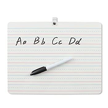 Grope Dry Erase Lapboard Portable Learning Board Double Sided Lined/Plain Writeboard Mini Lapboards with Black Marker for Students 9x12 inches Set of 1