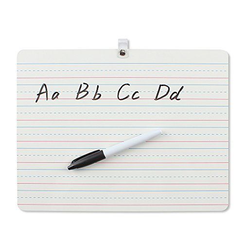 Grope Dry Erase Lapboard Portable Learning Board, Double Sided, Lined Plain Writeboard Mini Lapboards with Black Marker for Students 9x12 inches Set of 1