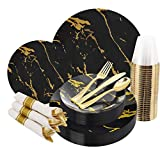 BUCLA 30Guests Black And Gold Plastic Plates With Disposable Prewrapped Silverware Bulk And Gold Cups- Marble Design Disposable Plastic Dinnerware-Ideal For Weddings And Parties