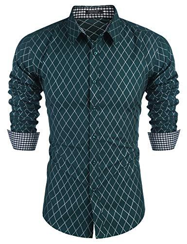 COOFANDY Herren Hemd kariert Regular fit frezeit Business bügelfrei Hemden lnagarmshirt