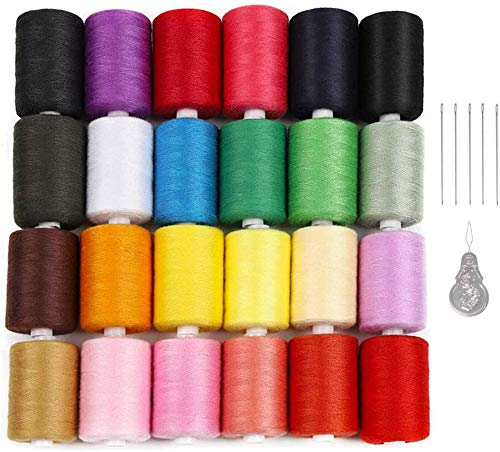 24 Colors Sewing Threads for Sewing Machine,1000 Yards Spools Thread Mixed Cotton Thread for DIY Sewing