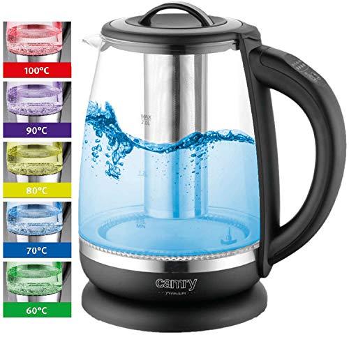 Glas Wasserkocher 2 Liter | 2200 Watt | 100% BPA FREI | Temperatureinstellung (60°C-100°C) | Edelstahl mit Temperaturwahl und integriertem Teesieb | Teekocher | LED Beleuchtung im Farbwechsel