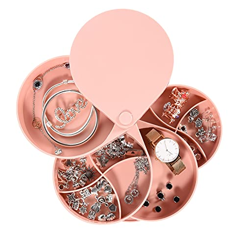 Colmanda Caja Joyero Organizador Rotación 360°, Caja Joyería, Joyero 4 Capas Redondos, Portátil Joyero Viaje Cajas para Joyas Jewelry Organizer para Mujer Anillos, Aretes, Pulseras Collares (rosa)