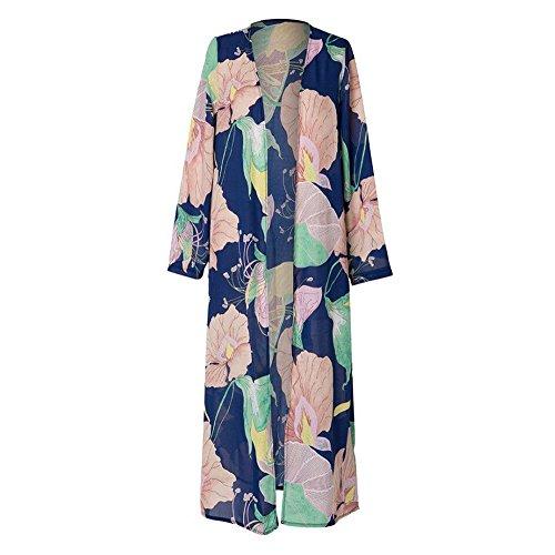 Yowablo Cardigan Tops Cover Up Blouse Women Long Sleeve Printed Shawl Beachwear Chiffon (S,Marine)
