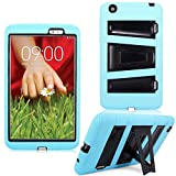 Cellularvilla Kickstand Case for LG G Pad 8.3' Inch Baby Blue Black Hybrid Armor Hard Soft Kickstand Case Cover Protector with Stand