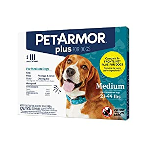 PETARMOR Plus for Dogs Flea and Tick Prevention for Dogs, Long-Lasting & Fast-Acting Topical Dog Flea Treatment, 3 Count