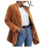 Akabsh - Cárdigan de felpa suelta para mujer, color liso, manga larga, chamarra, abrigo, chaquetas, abrigos informales