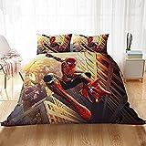 Housse De Couette 260X240 Ensemble Literie 3 Pièces Spiderman avec 2 Taies d'oreiller Et Fermeture À Glissière 100% Lavable en Microfibre