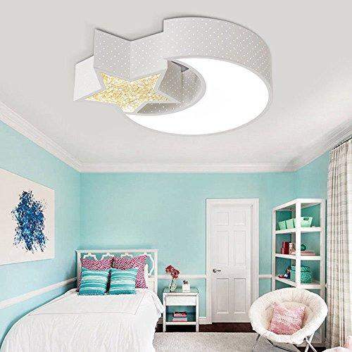 Style home 24W Kinderlampe LED Deckenlampe Deckenleuchte voll dimmbar mit Fernbedienung Mond mit Stern