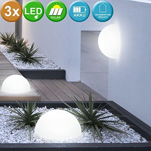 3er Set LED Wand Boden Solar Außen Leuchten Halb-Kugel Garten Lampen Rasen Balkon Veranda Beleuchtung