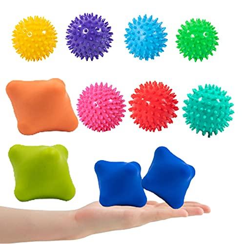 Lumanby 11 bolas de masaje con punta de masaje para cuerpo y pies para aliviar el dolor, la tensión y el estrés, simula la circulación sanguínea (juego-5)