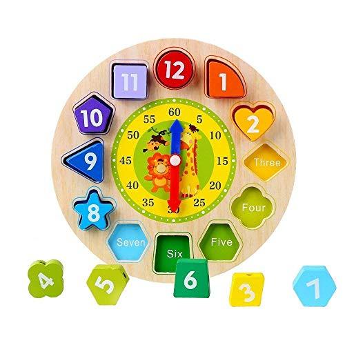 Afunti Toy Reloj Puzle - Juguete Educativo De Madera para Aprender Las Horas,Relojes de Aprendizaje,Reloj De Rompecabezas para Niños