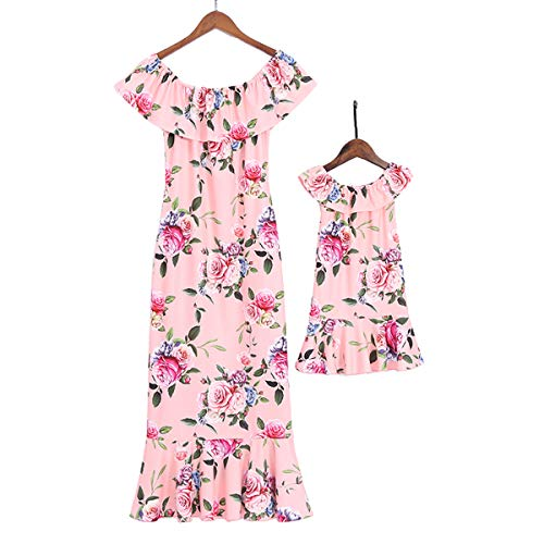 Mumetaz Mommy and Me Dresses Floral Printed Ruffles Off Shoulder Midi Dress