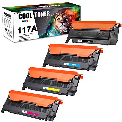 Cool Toner Kompatibel für HP 117A Tonerkartusche Ersatz für HP Color Laser MFP 178nwg 179fwg 179fnw 178nw Toner, HP Color Laser 150a 150nw Toner, W2070A W2071A W2072A W2073A, 4 Packs