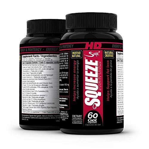 Squeeze HD 60 cápsulas Potente quemagrasas para adelgazar, Rápida pérdida de peso, Fat Burner, Termogénico, Quemador de grasa