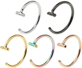 5 Pairs 18G/20G C-Shape Nose Hoop Ring Tiny Helix Earring Assorted Colors   Color - 1x8mm