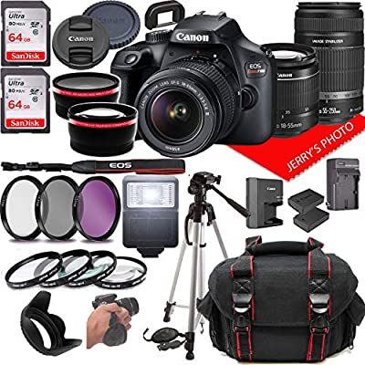 Canon EOS Rebel T100 DSLR Camera w/Canon EF-S 18-55mm F/3.5-5.6 + EF 55-250mm F/4-5.6 is Zoom Lenses + Case + 64GB Memory (28pc Bundle) from Jerry's Photo | Canon Intl