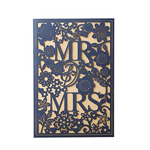 ZheQR Personalized Luxury Wedding Invitations Laser Cut Wedding Cards with RSVP Envelop Glittery Greeting Cards 50PCS,Burgundy,blank Whole Set