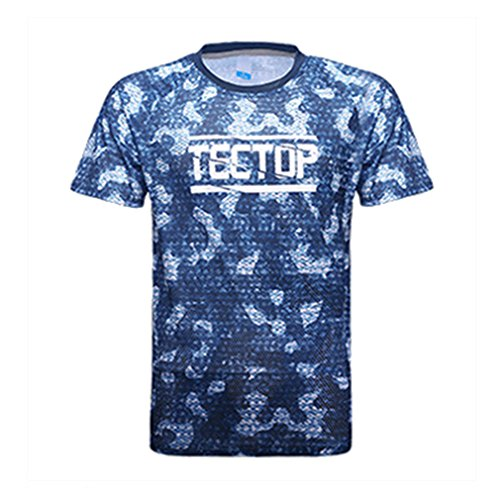emansmoer Hommes Camo Impression Outdoor Ras Du Cou Manches Courtes Sports Quick Dry T-Shirt Casual Léger Respirant Wicking Course Tee Shirt (X-Large, Bleu)