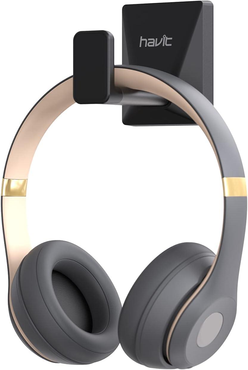 havit Gancho para auriculares de aluminio, soporte para auriculares de pared, universal para auriculares de juego, adecuado para escritorios, paredes, armarios, puertas