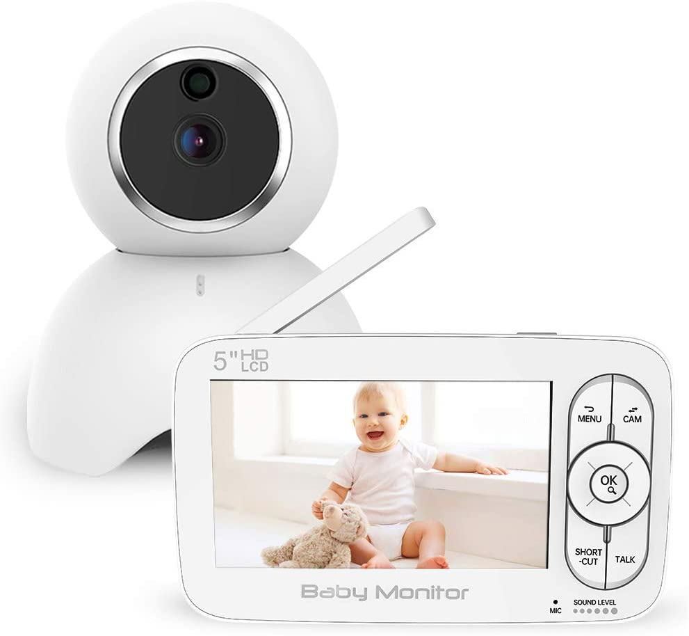 Wireless Digital Video Baby Monitor with Camera and Audio, Infrared Night Vision Talk Back Infant Supervisor, Temperature Sensor Sound Detection Soothing Lullaby 960ft Range Portable House Monitor
